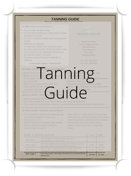 Tansun Tanning Guide Poster
